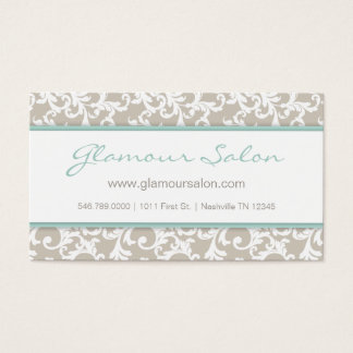Linen and Mint Elegant Damask Pattern Business Card