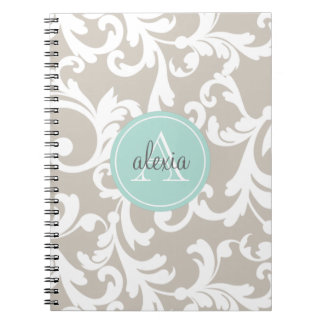 Linen and Mint Monogrammed Damask Print Spiral Note Book