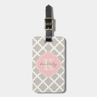 Linen and Soft Pink Moroccan Quatrefoil Print Luggage Tag