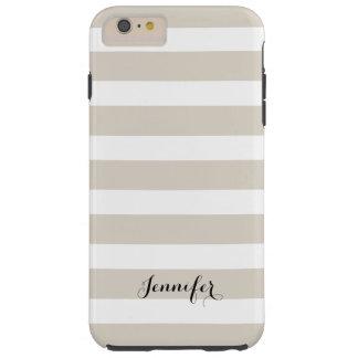 Linen Beige and Black Classic Stripes Monogram Tough iPhone 6 Plus Case