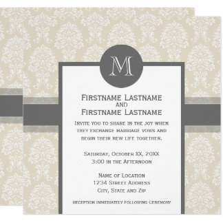 Linen Beige and Charcoal Damask Pattern Card