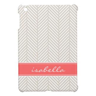 Linen Beige and Coral Herringbone Custom Monogram iPad Mini Cover