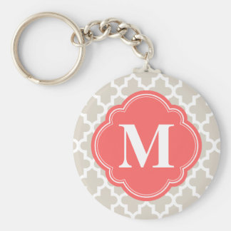 Linen Beige and Coral Modern Moroccan Monogram Key Ring