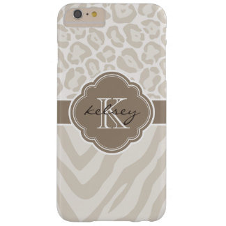 Linen Beige and Mocha Animal Print Custom Monogram Barely There iPhone 6 Plus Case