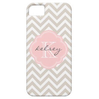 Linen Beige and Pink Chevron Custom Monogram iPhone 5 Cover
