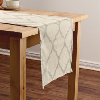 Linen Beige and Taupe Moroccan Quatrefoil Short Table Runner