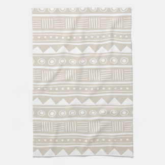 Linen Beige Aztec Tribal Pattern Tea Towel