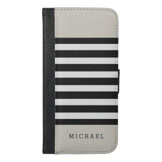 Linen Beige Black Grey Stripes - Simple Stylish iPhone 6/6s Plus Wallet Case