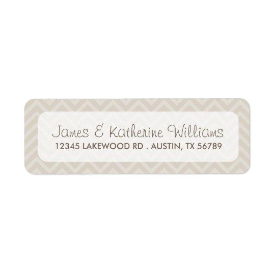 Linen Beige Chevron Stripes Modern Wedding Return Address Label