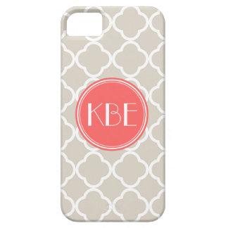 Linen Beige & Coral Quatrefoil Custom Monogram iPhone 5 Cover
