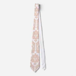 Linen Beige Damask Pattern Tie