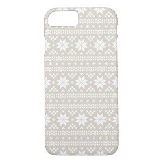 Linen Beige Fair Isle Christmas Sweater Pattern iPhone 8/7 Case
