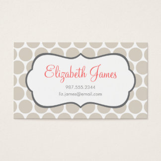 Linen Beige Mod Big Dots Business Card