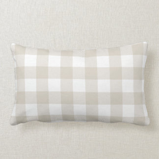 Linen Beige Preppy Buffalo Check Plaid Lumbar Pillow