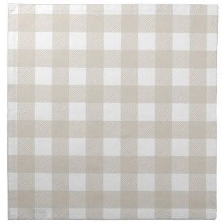 Linen Beige Preppy Buffalo Check Plaid Napkin