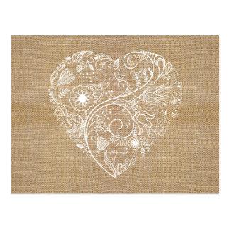 Linen burlap flower heart postcard