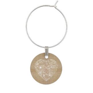 Linen burlap flower heart wine glass charms