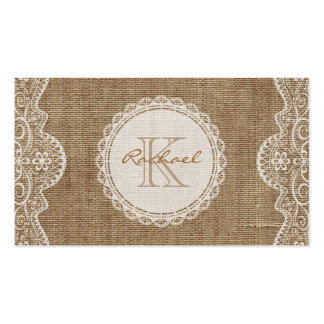 Linen Burlap White Lace Monogram Personal Contact Pack Of Standard Business Cards