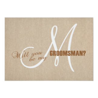 Linen Canvas Wedding Be My Groomsman Invite
