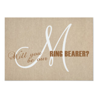 Linen Canvas Wedding Monogram Ring Bearer Card