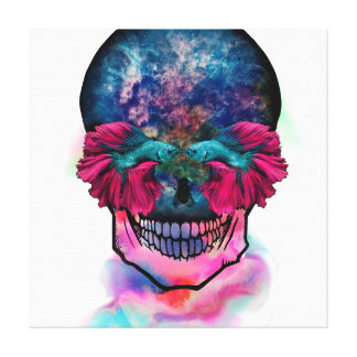 Linen cloth of skull fish bettas canvas print