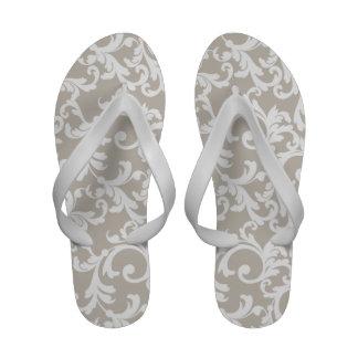 Linen Damask Print Flip Flops