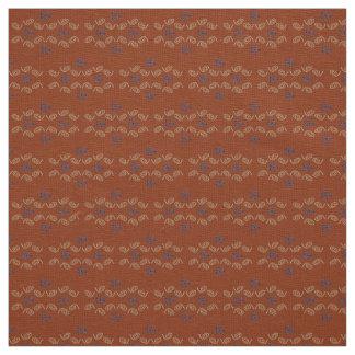 Linen Fabric rust tan blue custom