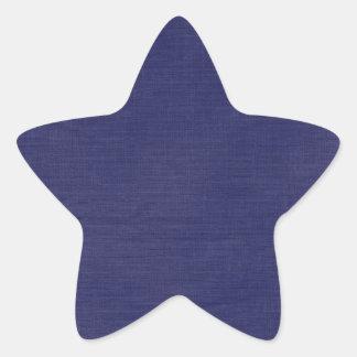 Linen Fabric Texture Background // Navy Blue Denim Star Sticker