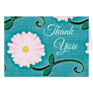Linen & Flower Thank you Card