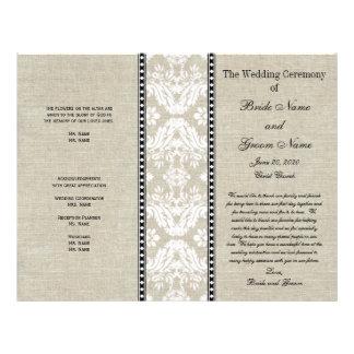 Linen Lace Damask Rustic Wedding Program 21.5 Cm X 28 Cm Flyer