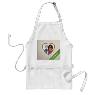 Linen Look Heart Frame: Add a Photo and Text Standard Apron