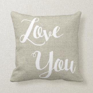 """Linen Look """"Love You"""" Pillow"""