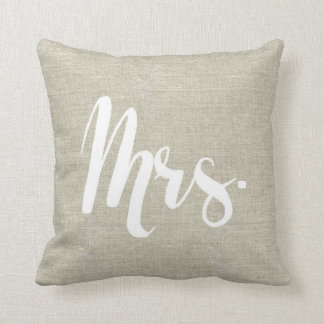 "Linen Look ""Mrs."" Pillow"