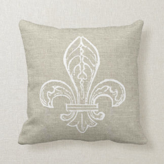 Linen Look with White Fleur de Lis Pillow