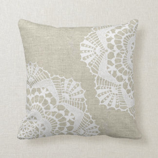 Linen Look with White Lace Doilies Pillow