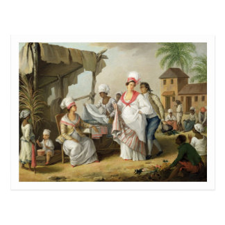 Linen Market, Roseau, Dominica, c.1780 (oil on can Postcard
