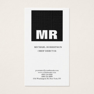 Linen Professional Monogram Black & White Plain Business Card