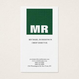 Linen Professional Monogram White Green Plain Business Card