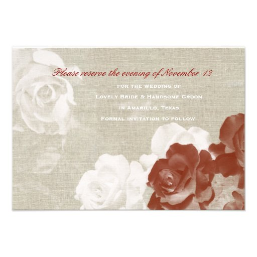 Linen Red White Ghost Roses Save the Date Personalized Invites