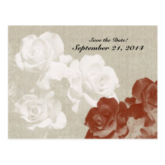 Linen Red White Ghost Roses Save the Date Postcard