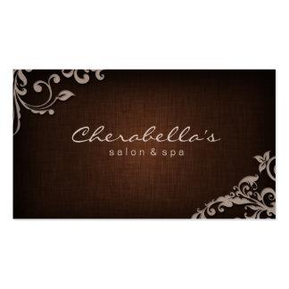 Linen Salon Spa Floral Business Card Brown Beige