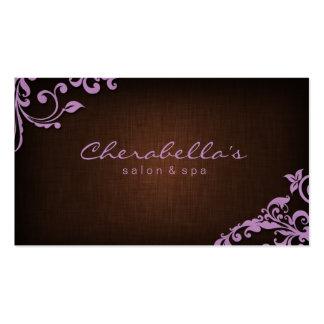 Linen Salon Spa Floral Business Card Brown Purple