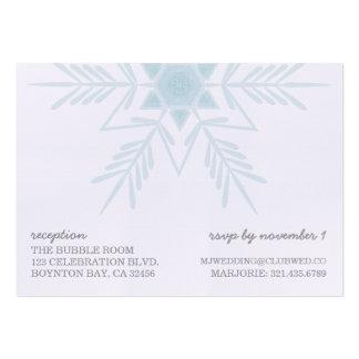 linen snowflake MODERN WEDDING rsvp reception card Business Card