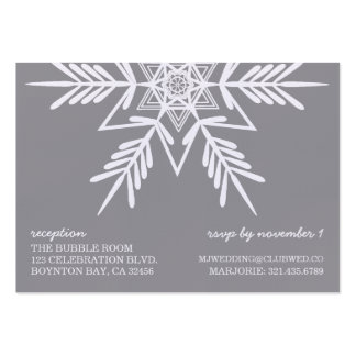 linen snowflake MODERN WEDDING rsvp reception GRAY Pack Of Chubby Business Cards