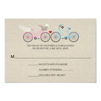 Linen Style Bicycle Pink Wedding Reply RSVP Card