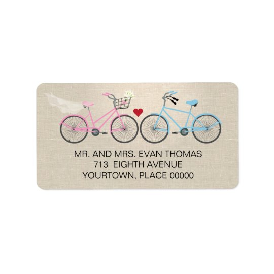 Linen Style Bicycle Wedding Return Address Label