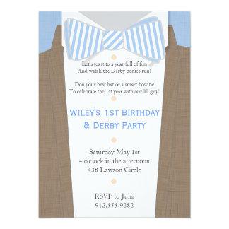 Linen Suit and Seersucker Bow Tie Party Invitation