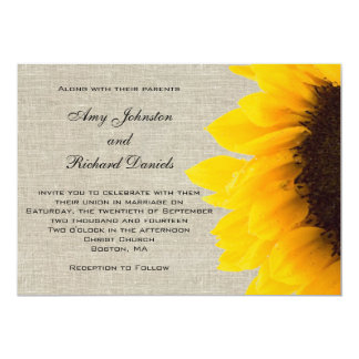 Linen Sunflower Rustic Wedding Invitation