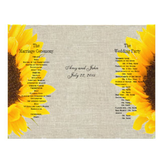 Linen Sunflower Rustic | Wedding Program Flyer