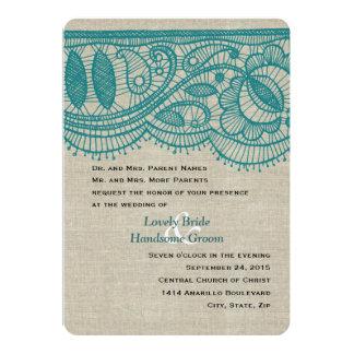 Linen Teal Lace Vintage Modern Wedding Invitation